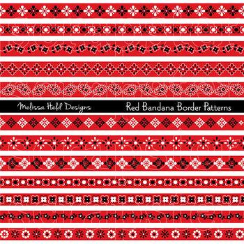 Clipart: Red Bandana Border Patterns Clip Art