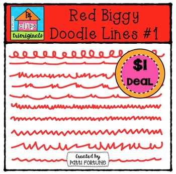 Red Biggy Doodle Lines #1 {P4 Clips Trioriginals Digital C