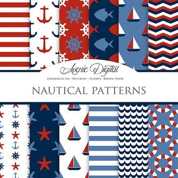 Red & Blue Classic Nautical Digital Paper patterns  sailin