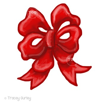 Red Bow Clip Art, holiday clip art Printable Tracey Gurley