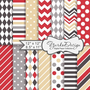 Red Brown And Beige Geometric Digital Paper Set, 12 Digita