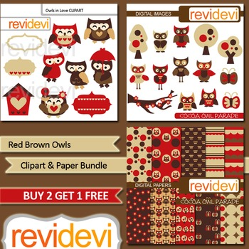 Red Brown Owls clip art and digital paper bundle (3 packs)