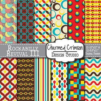 Red, Brown, Yellow, and Teal Retro Digital Paper 1210