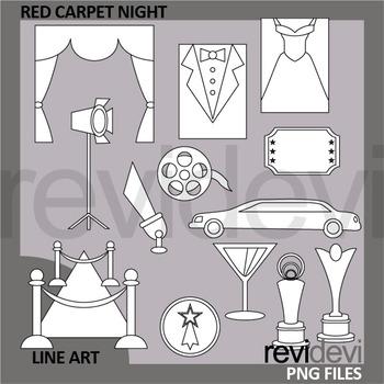 Red Carpet Night Clip Art Black and White - Line art