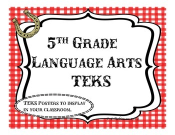 5th Grade Language Arts TEKS; Red Checkered Western Theme