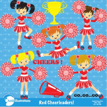 Clipart, Cheerleader clipart, Cheerleaders in red clip art