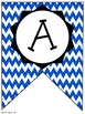 Blue Chevron Classroom Pennants and Bunting (Letters, Numb