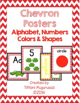 Red Chevron Posters Alphabet, Numbers, Colors and Shapes