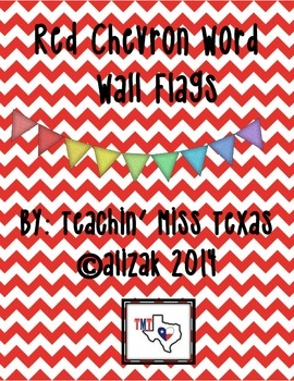 Red Chevron Word Wall Flags