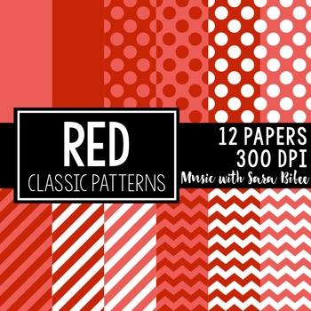 Red Classic Designs- 12 Digital Papers