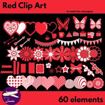 Red Clip Art Decoration Scrapbooking Elements - 60 items