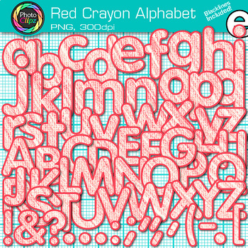 Red Crayon Alphabet Clip Art {Great for Classroom Decor &