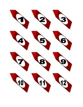 Red Crayon Numbers for Calendar or Math Activity