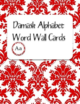 Red Damask Alphabet Word Wall Cards