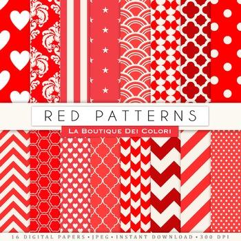 Red Digital Paper, scrapbook backgrounds