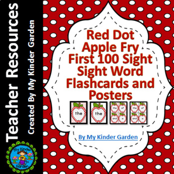 Red Dot Apple  Fry First 100 Sight Word Flashcards and Posters