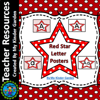 Red Dot Star Alphabet Letter Posters