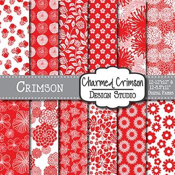 Red Floral Digital Paper 1114