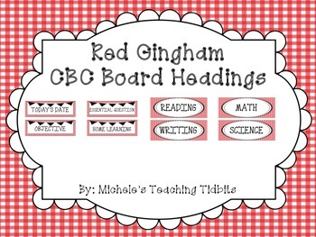 Red Gingham CBC Board Headings