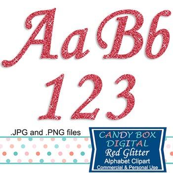 Red Glitter Alphabet Clip Art
