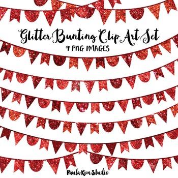 Red Glitter Bunting Clip Art
