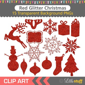 Red Glitter Christmas Clipart