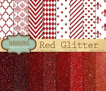 Red Glitter Digital Paper for Christmas or Valentines, Scr