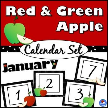 Red & Green Apple Calendar Set
