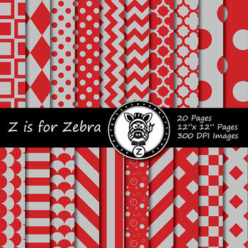 Red / Grey  dual tone Digital Paper Pack 1 - CU ok { ZisforZebra}