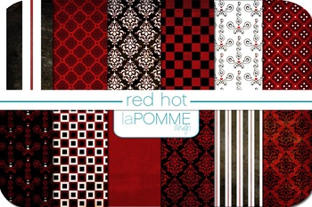Red Hots Black, White, & Red Patterned Digital Paper Pack