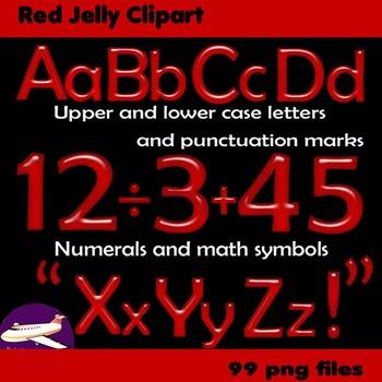 Alphabet Clip Art Red Jelly + Numerals, Maths Symbols & Pu