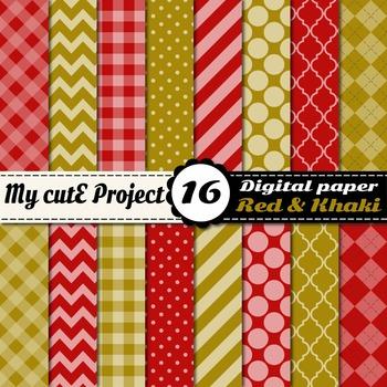"Red & Khaki DIGITAL PAPER - Scrapbooking- A4 & 12x12"" - St"
