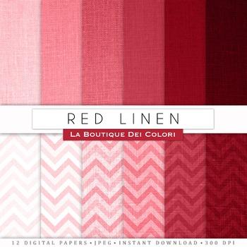 Red Linen / Burlap Digital Paper, scrapbook backgrounds