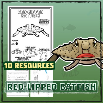 Red-Lipped Batfish -- 10 Resources -- Coloring Pages, Read
