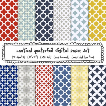 Red, Navy Blue and Yellow Quatrefoil Digital Backgrounds,