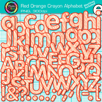 Red-Orange Crayon Alphabet Clip Art {Great for Classroom D