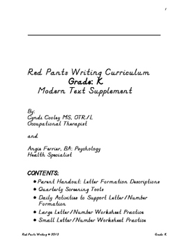 Red Pants Writing Grade: K Modern Text Supplement