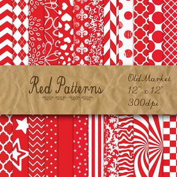 Red Pattern Designs - Digital Paper Pack - 24 Different Pa
