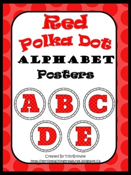 Red Polka Dot Round Alphabet Posters