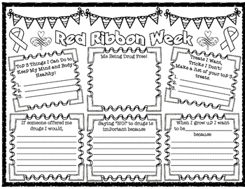 Red Ribbon Pair and Share Poster for Upper Elementary Students