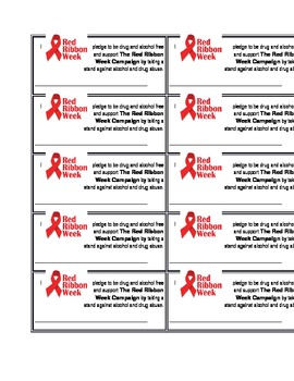 Red Ribbon Week Pledge Cards By Mrs D Teaching Creations