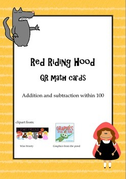 Red Riding Hood QR math task cards - addition and subtract