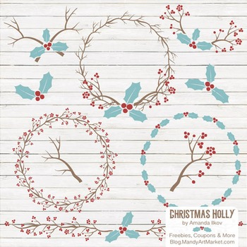 Red & Robin Egg Christmas Holly Clipart