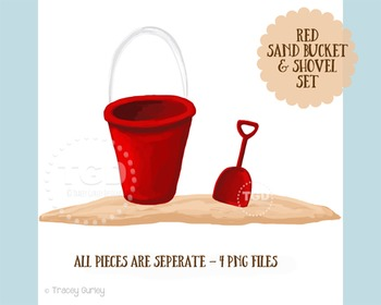 Red Sand Bucket and Shovel Clip Art Set, Printable Tracey