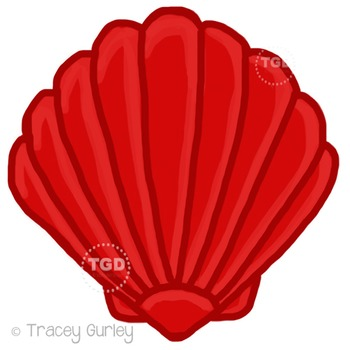 Red Scallop Shell - scallop shell clip art Printable Trace