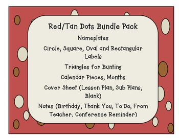 Red Tan Dots Classroom Bundle Pack