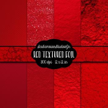 Red Textured Foil Digital Paper, 300 dpi 12x12 inch, set of 8