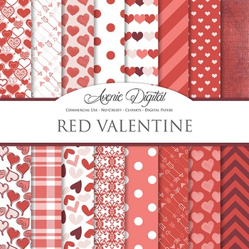 Red Valentine's day Digital Paper scrapbook backgrounds, l