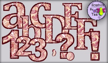 Red Velvet Cake Letters and Numbers Clipart