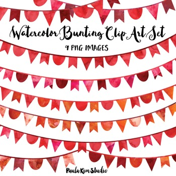 Red Watercolor Bunting Clip Art